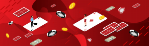 two online gambler surrounded with cards and coins